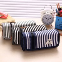 Cheap Wholesale-Multifunction Large Capacity Canvas Striped School Pencil Case Fashion Stationery Pen Bag School Supplies for Boys Girls Student