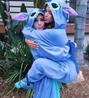 Wholesale Hot Sell Stitch Blue Flannel Animal Pajamas Unisex Mascot Costumes For Teenagers Lovely Sleepwear Cheap
