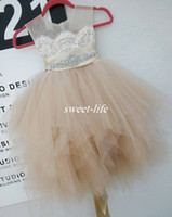 Lace cute party dresses - Cute Flower Girl Dresses for Wedding Party Champagne Lace Tulle Knee Length Beaded Belt Sheer Crew Neck Baby Communion Birthday Dresses