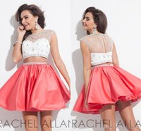 Wholesale 2017 Coral Homecoming Dresses with Rhinestones Rachel Allan Two Pieces Short Prom Dresses A Line Bateau with Sequins Cap Sleeves Hollow Back