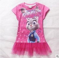 Wholesale Zootopia Dress New Cartoon Zootopia Judy Tulle Gauze Dress Cotton Short Sleeve Pink Dresses Baby Clothes Girls Dresses