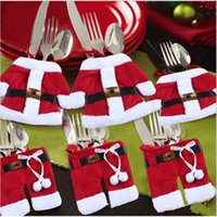 Wholesale 200pcs Handmade Lovely Clothes Pants Shaped Christmas Cutlery Suit Silverware Holder Knives and Forks Pockets