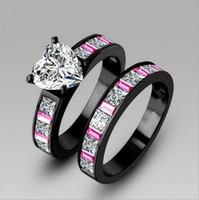 achat en gros de bandes de mariage d'or rempli de gros-or anneaux de gros bijoux Fashion White Heart Simulé Diamant CZ 10KT noir rempli Wedding Band Ring Set pour les femmes Taille 5-10 cadeau