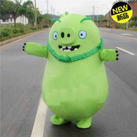 adult anger - High quality adult anger red bird gree pig mascot mascot costume on clothing material Halloween Carnival costume