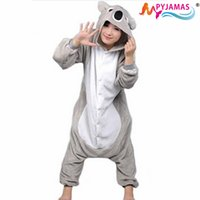 Wholesale Koala Unisex Adult Flannel Hooded Pajamas Cosplay Cartoon Cute Animal Costumes Onesies Sleepwear For Women Men