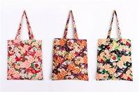 Flower sac imprimé achats de coton et de lin jeunesse sac shopper populaire de qualité épaisse et haute femmes sac fourre-tout support conçu avec sac interne