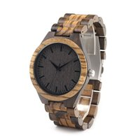 Wholesale zebra wood mens watch with luxury wooden band watches Japanses movement quartz watches for men as gift Brand Designer