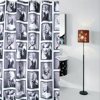 Wholesale 1Pc cm cm Retro Black and White Marilyn Monroe Shower Curtain with Hooks
