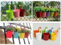 Wholesale 7pcs Random Color Home Garden Metal Iron Flower Pot Hanging Balcony Plant Planter Home Decor