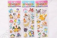 Wholesale Poke Stickers Cartoon Pikachu Pocket Monster Scrapbooking Sticker Sheet For Kids PVC sticker designs OOA665
