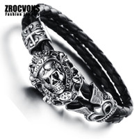 Wholesale New Fashion jewelry Retro Punk Skull love Stainless Steel Black Genuine leather Personality Men Bracelet male Bangles