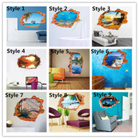 animal sight - 3D Sea Sight Through Wall Wall Stickers for Kids Rooms Living Room Home Decor Wall Decor Mural Art