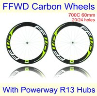 best road wheelset - Best Quality Fast Forward FFWD Road Bike Two Wheels mm F6R C Green Decals Carbon Wheelset With Powerway R13 Hubs Holes