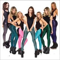 Cheap DHL New Fashion Women Gym Leggings Mermaid Fish scales Printed Legging Pants Women's Sports Pants 2XL-4XL Yard Free shipping E1080