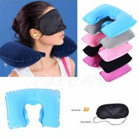 beauty rest pillows - C HOT INFLATABLE TRAVEL FLIGHT PILLOW NECK U REST AIR CUSHION EYE MASK EARBUDS For Beauty Tool