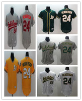 Wholesale 2016 Flex Base Oakland Athletics Rickey Henderso Grey White Green Yellow Fashion Grey Flexbase Stitched Baseball Jerseys