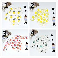 Cheap 15 Style Fruits Print Infant Baby Romper Long Sleeve Cartoon Babies Boy Girl Romper Cotton Kids Clothes Baby Climb Clothing K8108
