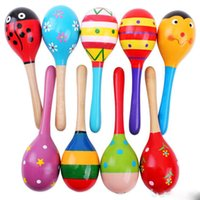 Wholesale 500 DHL Wooden Toy Rattle Cute Mini Baby Sand Hammer baby toys musical education