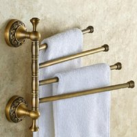 Wholesale European Style Antique Brass Adjustable Four Towel Bars Wall Mounted Bathroom Towel Holder Bathroom Accessories