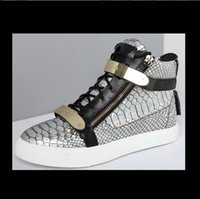 base leather shoes - Top Designer Fashion Europe High Top Shoes Recreational shoe tide in British men s large base metal silver steel toed camouflage leathe