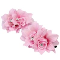 Wholesale 2x Party Prom Women Pink Flower Shape Rhinestone Hairpin Clips Hair Accessories hair accessories free delivery