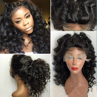 Wholesale 2016 New Arrival Virgin Brazilian Glueless Density Human Hair Full Lace Wigs With Natural Looking Loose Wave Lace Front Wig Baby Hair