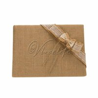 Wholesale Vintage Burlap Wedding Guest Book with Lace Ribbons Bow for Bridal Birthday Party Reception Wedding Favors Decorations