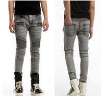 Wholesale 2016 Hot Balmain Jeans Mens Slim stretch biker jeans famous brand balmain pairs motor jeans pants