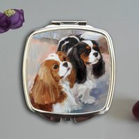Wholesale Fashion Ladies handbag slim Makeup mirror Portable Pocket Compact Mirrors Sublimation printed with lovey dogs