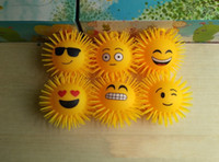 Wholesale New LED light ball children light toys inch long haired printed with a smiling face and fluffy TPR ball