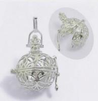 Plata plateada Venta al por mayor los colgantes filigranos del Locket del cobre de la caja de la bola de la jaula hueco de 30m m * 27m m para la joyería de DIY