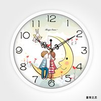 Wholesale cheap plastic lovers dial wedding design wall clock for lovers hot dial quartz clock
