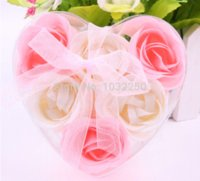 Wholesale gift washing cleaning bath rose Flower paper petals soap gift organtic wedding favor mulit color pc set bowknot