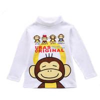 2016 Boy graziosi bambini vestiti di alta qualità del cotone puro top manica lunga collo della tartaruga T-shirt per bambini