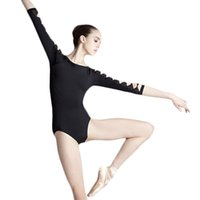 adult dance leotards - Adult Girls Black Cut Out Sleeve Backless Ballet Dance Leotard Stretch Bodysuit Ladies Women Dance Practice Clothes