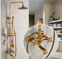 bath tub shelf - Hot Sale And Retail Promotion Luxury Antique Brass Wall Mounted Shower Faucet Set Tub Mixer Tap W Bath Shelf