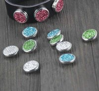 Wholesale hot mix colors crystal shaped rhinestone mm snap button fit ginger snap cow leather bracelet for women and men