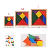 Wholesale Puzzle toy for children Rainbow Color Wooden Tangram Pieces Jigsaw Puzzle Educational Toy for Children
