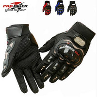 Wholesale NEW PRO knight Full Finger Protective Gear Black Carbon Fiber Pro Biker Bike Motorcycle Motorbike Racing Gloves Luvas M L XL