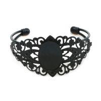 agate cameo - 10pcs mm Pad Glass Cabochon Adjustable Flower Cameo Blank Base Bangle Settings For DIY Jewelry Bangle Bracelet