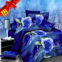 Wholesale D stereoscopic large version pure cotton bedding a family of four new marriage celebration gift red roses romantic black