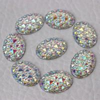 Wholesale 13 mm Crystal AB Acrylic Rhinestone Flat Back Oval Shape Sew On Hole ZZ69