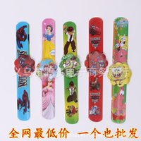 Wholesale Slap Bracelet the new cartoon ring pops silicone wrist band PVC hand pat circle reflective children gift