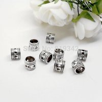 Wholesale ashion Jewelry Beads x7mm Antique Silver Heart Tube Spacers Beads Fits European Charm Bracelet Jewelry Findings
