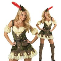 adult robin costume - Newest Adult Woman Sexy Green Cosplay Clothing Robin Hood Costume For Carnival M4012