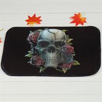 bedroom bath - Rose Skull Black Bath Mats Polyester Coral Fleece Rectangle Cartoon Non slip Bathroom Bedroom Carpet Home Mat