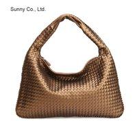 Wholesale Vintage hobos bag woven leather Imitation leather sheepskin handbags women large bags bolsas shoulder leather bags