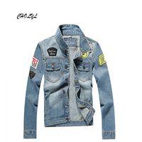 ar jeans - Fall Homens jaqueta jeans jaqueta jeans casacos homens jaqueta casaco homens da bandeira jaqueta ao ar livre roupa de Cowboy