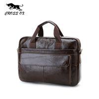 Wholesale Genuine Leather Mens Briefcase Laptop Bags Men s Travel Bag Cowhide Men Shoulder Bags Business Man Handbag bolsa HB388F