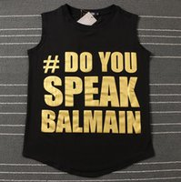 Wholesale BALMAIN star with the three rows of letters printed sleeveless T shirt female vest